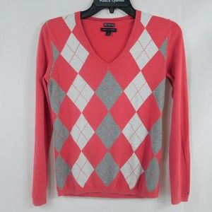 Tommy Hilfiger Womans Argyle V-neck Sweater